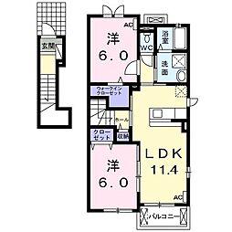 JR東海道本線 大垣駅 バス15分 すぐ江下車 徒歩4分の賃貸アパート 2階2LDKの間取り