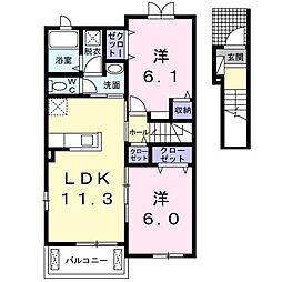 JR高崎線 本庄駅 徒歩22分の賃貸アパート 2階2LDKの間取り