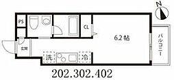 東京メトロ半蔵門線 押上駅 徒歩5分の賃貸マンション 2階1Kの間取り