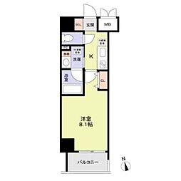 名古屋市営桜通線 丸の内駅 徒歩8分の賃貸マンション 10階1Kの間取り