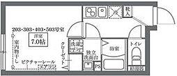 東京メトロ千代田線 西日暮里駅 徒歩6分の賃貸マンション 4階1Kの間取り