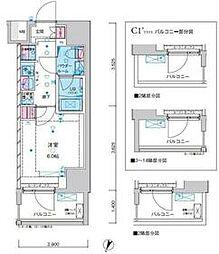 東京メトロ千代田線 綾瀬駅 徒歩12分の賃貸マンション 13階1Kの間取り