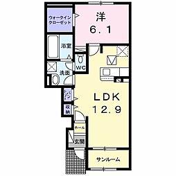 JR両毛線 前橋大島駅 4.2kmの賃貸アパート 1階1LDKの間取り