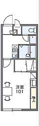 JR高崎線 新町駅 徒歩15分の賃貸アパート 2階1Kの間取り