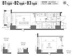 都営大江戸線 月島駅 徒歩6分の賃貸マンション 3階1Kの間取り