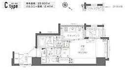 都営大江戸線 月島駅 徒歩6分の賃貸マンション 6階1Kの間取り