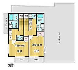 U・K Heiwadai 3階1Kの間取り
