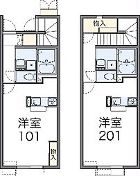 JR常磐線 土浦駅 バス25分 嘉平塚下車 徒歩7分の賃貸アパート 2階1Kの間取り