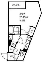 東武東上線 ときわ台駅 徒歩7分の賃貸マンション 2階1Kの間取り