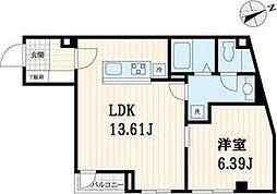 都営新宿線 西大島駅 徒歩15分の賃貸マンション 3階1LDKの間取り