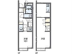 JR八高線 箱根ヶ崎駅 徒歩27分の賃貸アパート 1階1LDKの間取り
