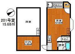 西鉄貝塚線 和白駅 徒歩8分の賃貸アパート 2階ワンルームの間取り