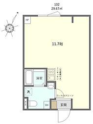 JR山手線 日暮里駅 徒歩10分の賃貸マンション 1階ワンルームの間取り