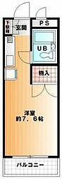 京王相模原線 京王多摩センター駅 徒歩12分の賃貸マンション 3階1Kの間取り