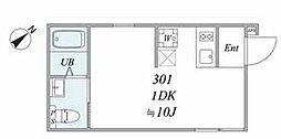 JR山手線 池袋駅 徒歩13分の賃貸マンション 3階1DKの間取り