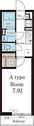 西武池袋線 ひばりヶ丘駅 徒歩13分の賃貸アパート 2階1Kの間取り