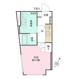 JR京浜東北・根岸線 大井町駅 徒歩6分の賃貸マンション 1階1Kの間取り