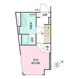 JR京浜東北・根岸線 大井町駅 徒歩6分の賃貸マンション 4階1Kの間取り