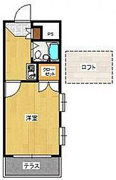 JR鹿児島本線 九産大前駅 徒歩11分の賃貸アパート 2階1Kの間取り