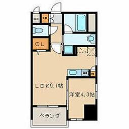 福岡市地下鉄七隈線 別府駅 徒歩3分の賃貸マンション 4階1LDKの間取り