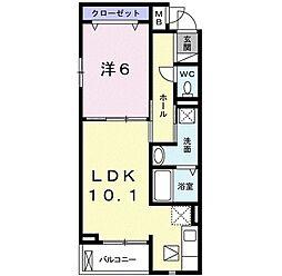 京阪本線 淀駅 バス9分 藤和田下車 徒歩3分の賃貸アパート 1階1LDKの間取り