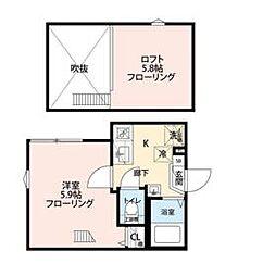 グランクオール板橋本町イーストレジデンス 3階1Kの間取り