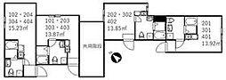 京成本線 新三河島駅 徒歩4分の賃貸アパート 1階ワンルームの間取り