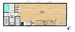 JR鹿児島本線 博多駅 徒歩11分の賃貸アパート 2階ワンルームの間取り