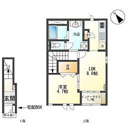 JR常磐線 大甕駅 バス7分 金井戸団地入口下車 徒歩7分の賃貸アパート 2階1LDKの間取り