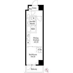 JR山手線 巣鴨駅 徒歩3分の賃貸マンション 2階1DKの間取り