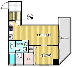 堀越ビル 3階1LDKの間取り
