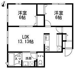 東武東上線 朝霞駅 バス10分 上内間木三在下車 徒歩3分の賃貸アパート 1階2LDKの間取り
