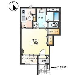 仮)取手市本郷三丁目新築アパート 1階1Kの間取り