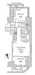 東京メトロ日比谷線 虎ノ門ヒルズ駅 徒歩7分の賃貸マンション 11階2LDKの間取り