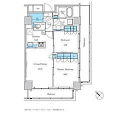 都営三田線 西巣鴨駅 徒歩4分の賃貸マンション 5階2LDKの間取り