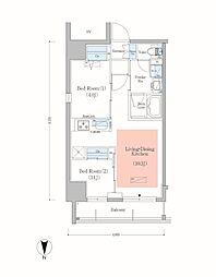 JR総武本線 錦糸町駅 徒歩8分の賃貸マンション 9階2LDKの間取り