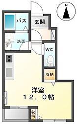 JR東北本線 宇都宮駅 徒歩37分の賃貸アパート 1階1Kの間取り