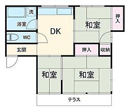 白石貸家 1階3DKの間取り