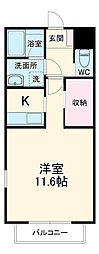 JR東海道本線 小田原駅 徒歩11分の賃貸アパート 1階ワンルームの間取り