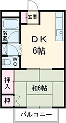 JR青梅線 東中神駅 徒歩8分の賃貸マンション 1階1DKの間取り