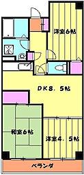 サンヴィレッジ本郷 4階3DKの間取り