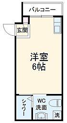 オークツリー・ハウス 3階ワンルームの間取り