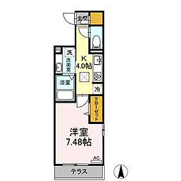名鉄名古屋本線 加納駅 徒歩11分の賃貸アパート 1階1Kの間取り