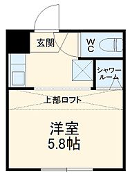 近鉄湯の山線 中川原駅 徒歩4分の賃貸アパート 2階ワンルームの間取り