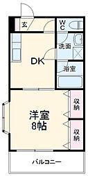 JR成田線 成田駅 徒歩18分の賃貸アパート 1階1DKの間取り