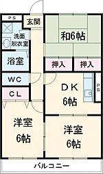 JR成田線 成田駅 徒歩16分の賃貸マンション 2階3DKの間取り