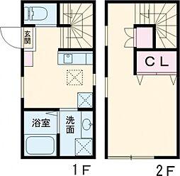 小田急小田原線 千歳船橋駅 徒歩9分の賃貸テラスハウス 1階ワンルームの間取り