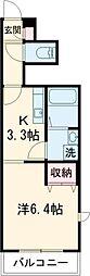 西武拝島線 東大和市駅 徒歩14分の賃貸アパート 1階1Kの間取り