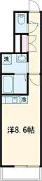 JR中央線 国立駅 徒歩9分の賃貸マンション 1階ワンルームの間取り