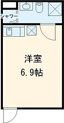 東急目黒線 不動前駅 徒歩7分の賃貸アパート 1階ワンルームの間取り